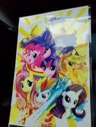 Size: 3024x4032 | Tagged: artist needed, safe, applejack, fluttershy, pinkie pie, princess celestia, princess luna, rainbow dash, rarity, spike, twilight sparkle, alicorn, earth pony, pegasus, pony, unicorn, abstract background, flying, mane seven, mane six, photo, rainbow trail, sonic rainboom, spread wings, sun, wings