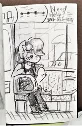 Size: 800x1220   Tagged: safe, artist:shoeunit, roseluck, earth pony, pony, semi-anthro, bus, clothes, female, mare, pencil drawing, sketchbook, solo, traditional art