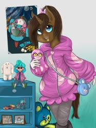 Size: 1024x1366   Tagged: safe, artist:zsnowfilez, oc, oc:chocolate frostheart, anthro, unicorn, clothes, female, hoodie, mare, solo