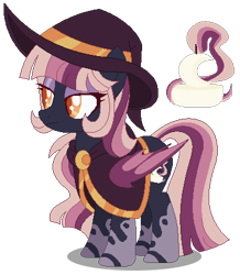 Size: 375x431   Tagged: safe, artist:awoomarblesoda, oc, oc:lumin essence, bat pony, pony, female, hat, mare, simple background, solo, transparent background, witch hat