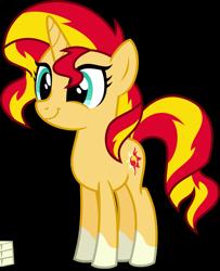 Size: 2091x2573 | Tagged: safe, artist:orin331, edit, editor:slayerbvc, vector edit, sunset shimmer, pony, unicorn, ponies wearing sunburst's socks, simple background, smiling, socks (coat marking), solo, teenager, transparent background, vector, younger