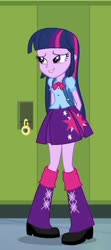 Size: 268x604 | Tagged: safe, screencap, twilight sparkle, alicorn, equestria girls, equestria girls (movie), backpack, clothes, cropped, cute, female, leg warmers, pleated skirt, shoes, skirt, solo, twilight sparkle (alicorn)
