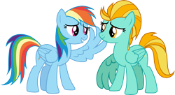 Size: 5499x3000 | Tagged: safe, artist:cloudyglow, lightning dust, rainbow dash, pegasus, pony, wonderbolts academy, .ai available, duo, female, high res, looking at each other, mare, simple background, transparent background, vector, wings