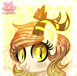 Size: 2660x2642 | Tagged: safe, artist:domina-venatricis, oc, oc:sol, pony, bust, crown, female, horns, jewelry, mare, portrait, regalia, solo