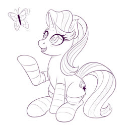 Size: 1200x1200 | Tagged: safe, artist:ziemniax, starlight glimmer, butterfly, pony, unicorn, chest fluff, clothes, eye clipping through hair, sitting, sketch, socks, solo, striped socks