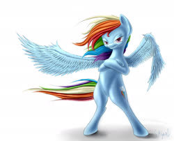 Size: 2100x1700 | Tagged: safe, artist:sayaal, rainbow dash, pegasus, pony, bipedal, cool, crossed hooves, female, mare, simple background, smiling, smirk, solo, spread wings, white background, windswept mane, wings