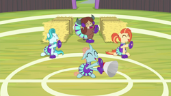 Size: 1920x1080 | Tagged: safe, screencap, lighthoof, ocellus, shimmy shake, yona, changedling, changeling, earth pony, pony, yak, 2 4 6 greaaat, spoiler:s09e15, cheerleader outfit, clothes, cloven hooves, female, mare, monkey swings, pom pom