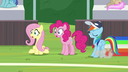 Size: 1280x720 | Tagged: safe, screencap, fluttershy, pinkie pie, rainbow dash, 2 4 6 greaaat, spoiler:s09e15