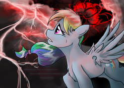 Size: 2400x1700 | Tagged: safe, artist:72-hours-remain, rainbow dash, pegasus, pony, dark, epic, female, lightning, mare, red lightning, spread wings, wings