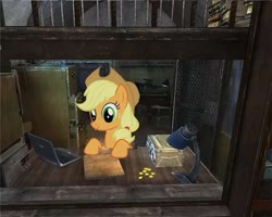 Size: 901x719 | Tagged: artist needed, safe, derpibooru exclusive, edit, applejack, pony, applestare, bits, crossover, female, merchant, ponies in video games, s.t.a.l.k.e.r., sidorovich, solo