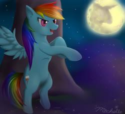 Size: 2570x2333 | Tagged: safe, artist:ichigo-star, rainbow dash, pegasus, pony, backwards cutie mark, bipedal, female, mare, moon, night, night sky, sky, smiling, solo, spread wings, stars, tree, wings