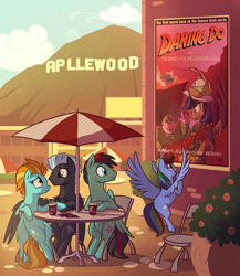 Size: 1500x1728 | Tagged: safe, artist:28gooddays, daring do, lightning dust, rainbow dash, thunderlane, oc, oc:ray blaze, pegasus, applewood, cafe, fanfic, fanfic art, fanfic cover, female, male, mare, misspelling, poster, shipping, stallion, straight, thunderdust