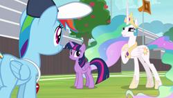 Size: 1920x1080   Tagged: safe, screencap, princess celestia, rainbow dash, twilight sparkle, alicorn, 2 4 6 greaaat, spoiler:s09e15, apple, apple tree, tree, twilight sparkle (alicorn)
