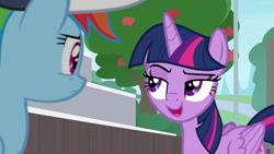 Size: 1920x1080   Tagged: safe, screencap, rainbow dash, twilight sparkle, alicorn, 2 4 6 greaaat, spoiler:s09e15, apple, apple tree, tree, twilight sparkle (alicorn)