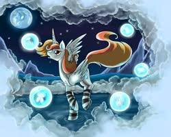 Size: 1000x800 | Tagged: safe, artist:28gooddays, oc, oc only, alicorn, alicorn oc, clothes, cloud, dream, socks, solo