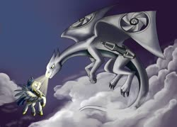 Size: 1400x1000 | Tagged: safe, artist:28gooddays, cloud, mechanical dragon, royal guard, sky