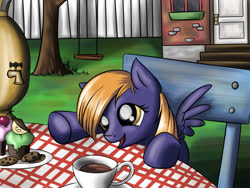 Size: 1200x900 | Tagged: safe, artist:28gooddays, oc, oc only, cupcake, foal, food, solo, table
