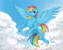 Size: 14173x11339 | Tagged: safe, artist:breakingreflections, rainbow dash, pegasus, pony, awesome, badass, cloud, cool, female, flying, mare, sky, spread wings, wings