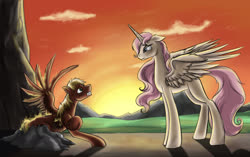 Size: 1400x880 | Tagged: safe, artist:28gooddays, princess celestia, oc, poem in the source, sunset, young celestia