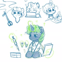 Size: 2048x2048 | Tagged: safe, artist:tingsan, oc, oc only, oc:silver bell, pony, unicorn, bouffant cap, cap, clamps, clothes, dropper, glowing horn, goggles, hat, horn, lab coat, magic, mask, microcentrifuge tube, micropipette, multeity, paper, pipette, science, simple background, sleepy, solo, surgery, telekinesis, test tube, tired, white background