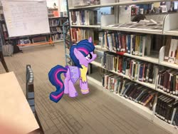 Size: 4032x3024 | Tagged: safe, photographer:undeadponysoldier, twilight sparkle, alicorn, pony, augmented reality, book, bookshelf, chair, clothes, drawing board, dress, female, gameloft, high school, irl, library, mare, photo, ponies in real life, school, skirt, solo, table, that pony sure does love books, twilight sparkle (alicorn), watauga high school