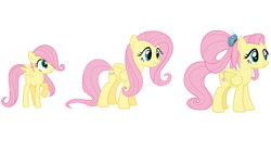 Size: 1280x720 | Tagged: safe, fluttershy, pegasus, pony, the last problem, age progression, comparison, female, filly, filly fluttershy, foal, mare, older, older fluttershy, wings, younger