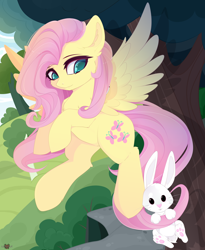 Size: 3150x3850 | Tagged: safe, artist:xsatanielx, fluttershy, pegasus, pony, cute, female, mare, rcf community, shyabetes, spread wings, tree, wings