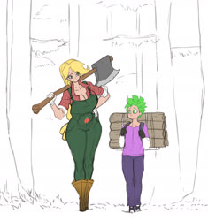 Size: 1668x1776 | Tagged: safe, artist:franschesco, applejack, spike, human, axe, big breasts, breasts, busty applejack, cleavage, clothes, gloves, huge breasts, humanized, super strength, tree, walking, weapon, wood