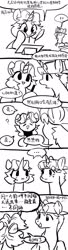 Size: 951x3508 | Tagged: safe, artist:tingsan, oc, oc:iuth, oc:silver bell, pony, unicorn, chinese, comic, female, male, monochrome, shipping, straight, translation request