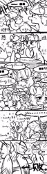 Size: 951x3508 | Tagged: safe, artist:tingsan, oc, oc:iuth, oc:silver bell, pony, unicorn, chinese, comic, dialogue, female, male, monochrome, name, shipping, straight, translation request