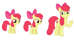 Size: 1280x720 | Tagged: safe, apple bloom, earth pony, pony, growing up is hard to do, spoiler:s09e22, age progression, comparison, cutie mark, female, filly, foal, mare, older, older apple bloom, the cmc's cutie marks