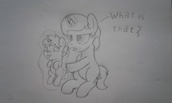 Size: 2560x1536 | Tagged: safe, artist:peternators, oc, oc:heroic armour, oc:light platinum, pony, unicorn, :p, baby, baby pony, brother and sister, colt, female, filly, first meeting, foal, levitation, magic, male, monochrome, siblings, sketch, smiling, telekinesis, text, tongue out, traditional art, unamused, younger