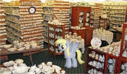 Size: 960x562   Tagged: safe, derpy hooves, pegasus, china shop, photo, scrunchy face, this will end in tears