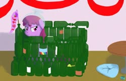 Size: 600x384   Tagged: safe, artist:quint-t-w, berry punch, berryshine, earth pony, pony, 2016, bottle, bottle fort, cartoon physics, flag, fort, old art, pillow, punch (drink), punch bowl, smiling, smirk, solo, table