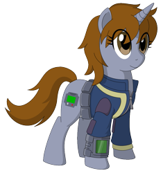 Size: 849x905 | Tagged: safe, artist:mdsk-rb, oc, oc only, oc:littlepip, pony, unicorn, fallout equestria, clothes, fanfic, fanfic art, female, hooves, horn, mare, obtrusive watermark, pipbuck, simple background, solo, standing, transparent background, vault suit, watermark, wrong eye color