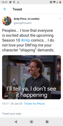 Size: 720x1440 | Tagged: safe, idw, andy price, jerry seinfeld, meta, season 10, seinfeld, shipping denied, twitter