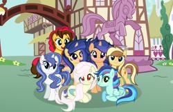 Size: 1357x883 | Tagged: safe, artist:galaxyswirlsyt, oc, oc:apple pie, oc:destiny, oc:galaxy swirls, oc:party pie, oc:rainbow blitzes, oc:sky city, oc:velvet sentry, earth pony, hybrid, pegasus, pony, unicorn, base used, book, female, heterochromia, interspecies offspring, magic, mare, offspring, parent:applejack, parent:caramel, parent:cheese sandwich, parent:discord, parent:fancypants, parent:flash sentry, parent:fluttershy, parent:pinkie pie, parent:rainbow dash, parent:rarity, parent:soarin', parent:twilight sparkle, parents:carajack, parents:cheesepie, parents:discoshy, parents:flashlight, parents:raripants, parents:soarindash, ponyville, statue