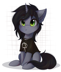 Size: 1600x1900   Tagged: safe, artist:falafeljake, pony, unicorn, clothes, commission, disguise, disguised siren, ear fluff, fangs, horn, jewelry, kellin quinn, looking at you, male, necklace, ponified, shirt, simple background, sitting, sleeping with sirens, slit eyes, solo, stallion, t-shirt, white background, ych result