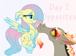 Size: 2359x1736 | Tagged: safe, artist:koloredkat, discord, fluttershy, draconequus, pegasus, pony, discoshy, female, fire, flutterbutter, looking at each other, male, mare, melting, shipping, smiling, straight, text