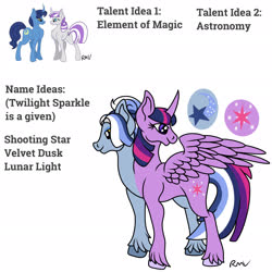 Size: 2048x2048   Tagged: safe, artist:rmv-art, night light, twilight sparkle, twilight velvet, oc, oc:shooting star, pegasus, pony, unicorn, conjoined, conjoined twins, fusion, multiple heads, two heads