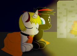 Size: 4561x3300 | Tagged: safe, artist:agkandphotomaker2000, oc, oc:arnold the pony, oc:lucia nightblood, pegasus, pony, vampire, vampony, arncia, blanket, chimney, fire, fireplace, oc x oc, red and black oc, shipping, show accurate, snuggling, warm