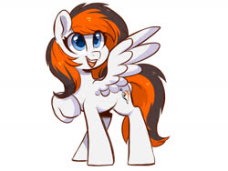 Size: 1600x1200 | Tagged: safe, artist:colorfulcolor233, oc, oc only, oc:rainy sky, pegasus, pony, commission, female, mare, open mouth, raised hoof, simple background, smiling, solo, white background, wings
