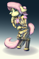 Size: 1265x1908 | Tagged: safe, artist:firefanatic, fluttershy, anthro, pony, unguligrade anthro, armor, bipedal, floppy ears, gem, nervous, solo, teary eyes