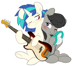 Size: 3720x3343 | Tagged: safe, artist:chub-wub, dj pon-3, octavia melody, vinyl scratch, earth pony, pony, unicorn, back to back, bass guitar, blushing, female, headphones, high res, hoof hold, lesbian, mare, missing accessory, musical instrument, one eye closed, scratchtavia, shipping, simple background, song, song reference, transparent background, wrong eye color