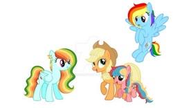 Size: 600x375   Tagged: safe, artist:zomper666, applejack, rainbow dash, oc, pegasus, appledash, base used, deviantart watermark, female, filly, lesbian, magical lesbian spawn, mare, multicolored hair, obtrusive watermark, offspring, parent:applejack, parent:rainbow dash, parents:appledash, rainbow hair, shipping, simple background, watermark, white background