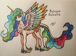 Size: 3968x2902 | Tagged: safe, artist:mesuyoru, princess celestia, alicorn, cloven hooves, colored wings, fanart, feather, gradient hooves, gradient mane, gradient wings, horn, leonine tail, markers, simple background, solo, sunbutt, traditional art, unicorn tail, wings