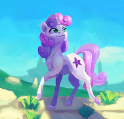 Size: 2662x2560   Tagged: safe, artist:terrafomer, sweetie belle, pony, unicorn, alternate cutie mark, colored hooves, high res, older, realistic horse legs, sky, solo