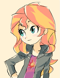 Size: 389x509 | Tagged: dead source, safe, artist:baekgup, sunset shimmer, equestria girls, bust, cream background, cute, female, hand on hip, shimmerbetes, simple background, solo