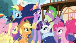 Size: 1667x938 | Tagged: safe, screencap, applejack, fluttershy, pinkie pie, rainbow dash, rarity, spike, twilight sparkle, alicorn, dragon, earth pony, pegasus, pony, unicorn, the last problem, spoiler:s09e26, applejack's hat, cowboy hat, cropped, crown, cute, female, group, hat, hoof shoes, jewelry, looking at each other, male, mane seven, mane six, mare, older, older applejack, older fluttershy, older mane 6, older mane 7, older pinkie pie, older rainbow dash, older rarity, older spike, older twilight, open mouth, peytral, princess twilight 2.0, regalia, sitting, smiling, twiabetes, twilight sparkle (alicorn)