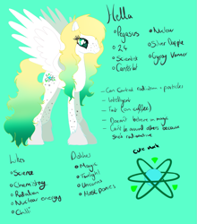 Size: 945x1076 | Tagged: safe, artist:hellaoverlord, oc, oc only, oc:uranium decay, object pony, original species, pegasus, pony, atom, base used, cutie mark, element pony, female, gradient hooves, gradient mane, gradient tail, mare, ponified, simple background, solo, spots, teal background